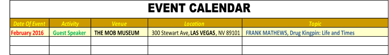 Date Of Event Activity Venue Location  Topic February 2016    Guest Speaker     THE MOB MUSEUM   300 Stewart Ave,  LAS VEGAS , NV 89101    FRANK MATHEWS, Drug Kingpin: Life and Times EVENT CALENDAR